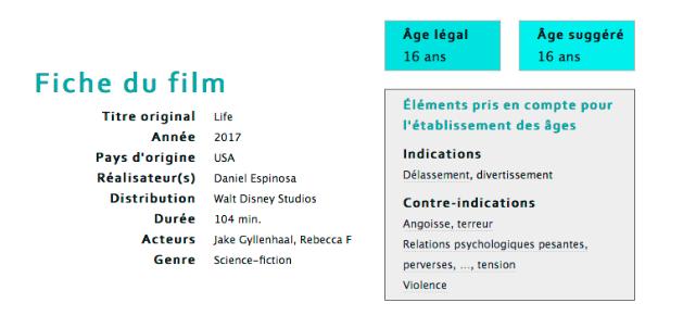 Fiche du film Life : Origine Inconnue sur filmages.ch