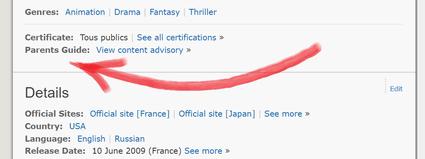 Comment localiser la rubrique Parents Guide sur IMDb